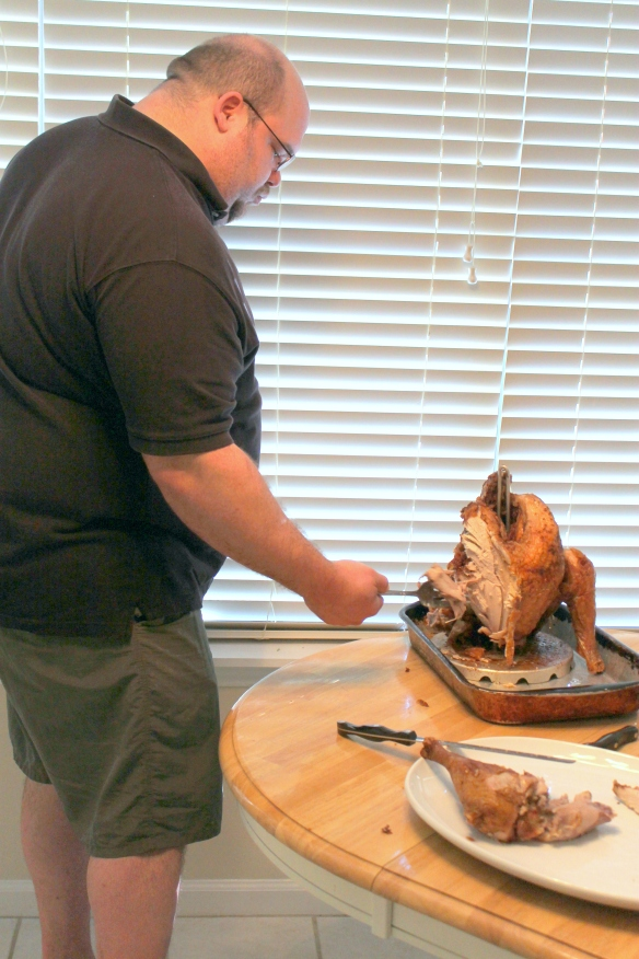 Joey carving his first turkey...it was a high pressure situation